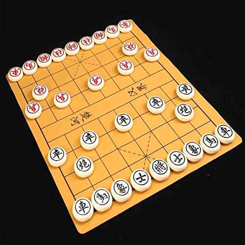 Gobus Juego de ajedrez Chino de plástico , Juegos de Viaje, Juegos de Mesa Xiangqi, con Tablero de Cuero y ajedrez de melamina de plástico de 3,8 cm de diámetro (Diente Blanco)