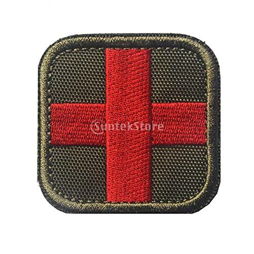 DADZSD 50 x 50 mm Haken & Schlaufe gesticktes taktisches Sanitäter-Patch des Roten Kreuzes für Tasche Rucksack Erste-Hilfe-Kit Tasche-Grüne Farbe_China