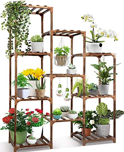 Plant Stand Indoor Ourdoor,CFMOUR 10 Tire Tall Large Wood Plant Shelf Multi Tier Flower Stands,Garden Shelves Wooden Plant Display Holder Rack for Living Room Corner Balcony Office Lawn Patio