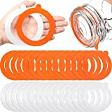 30 Pieces Silicone Jar Gaskets Leak-Proof Silicone Jar Seals Replacement Sealing Silicone Rings Airtight Silicone Gasket Sealing Rings for Regular Mouth Canning Jar, 3.75 Inches, White and Orange