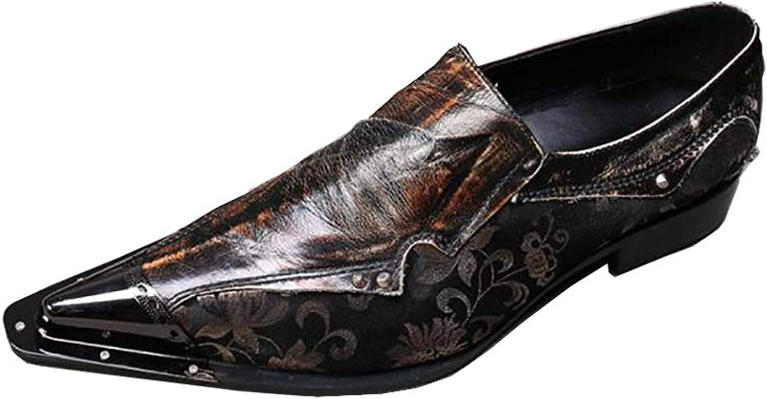 Men's shoes Leather Rock Singer Casual Bar Dress for Formal,Business,Wedding,Casual,Office,Party,Metal Pointed Toe shoes