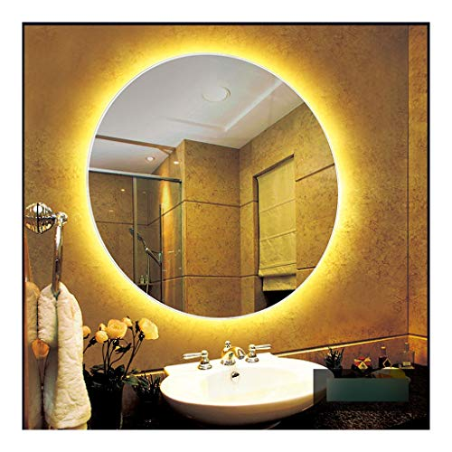 JJJJD Badspiegel hinterleuchtet Spiegel Frameless Lampenspiegel Antibeschlagspiegel mit Licht (Color : Huang Guang, Size : 50c)