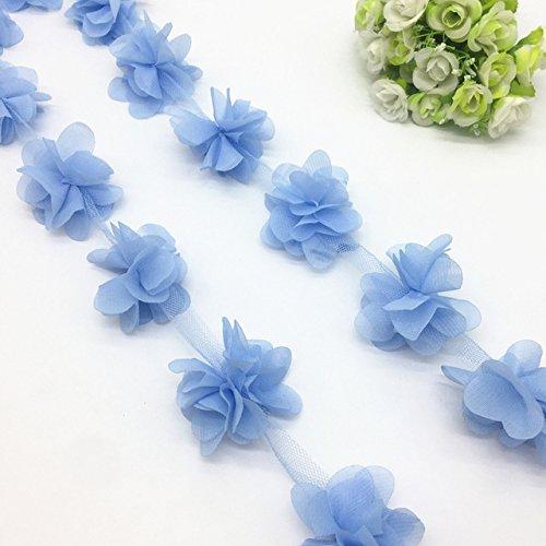 1 Yard 3D Chiffon Flower Lace Trim Baby Hair Band Lace Fabric Decoration DIY Garment Accessories Ribbon [Sky Blue]