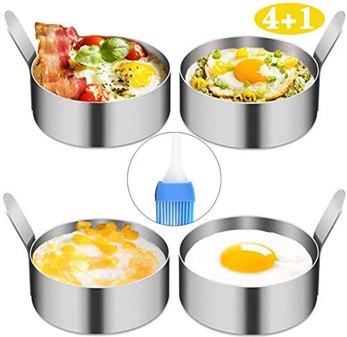 YAOYIN Pancake Form Egg Ring, 4 Pack 9cm Spiegeleiform Ei Ring zum Kochen von Spiegelei/Pfannkuchen/Omeletts und mehr, Antihaftbeschichtung, Lebensmittelqualität Edelstahl