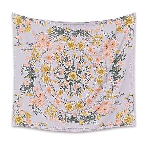 Tapiz psicodélico bohemio colgante de pared mandala flor tela de fondo de tela decoración del hogar tapiz A1 150x200 cm
