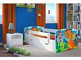 CARELLIA 'Kinderbett 80cm x 180cm mit Schubladen–Lattenroste–Matratze inkl. Kommode Dragon und Chateau–Weiß