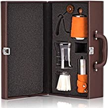 مجموعة ماكينة تحضير القهوة تشمل غلاية كوب بالتنقيط وطقم مطحنة قهوة وتقليدى صب بالتقطر يصلح كهدية وللاستخدام المنزلي (برتقالي)