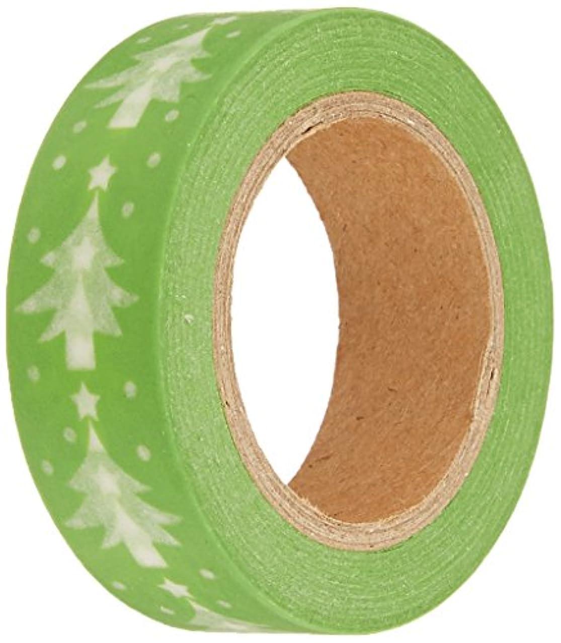 Wrapables Colorful Patterns Washi Masking Tape, Christmas Tree Light Green