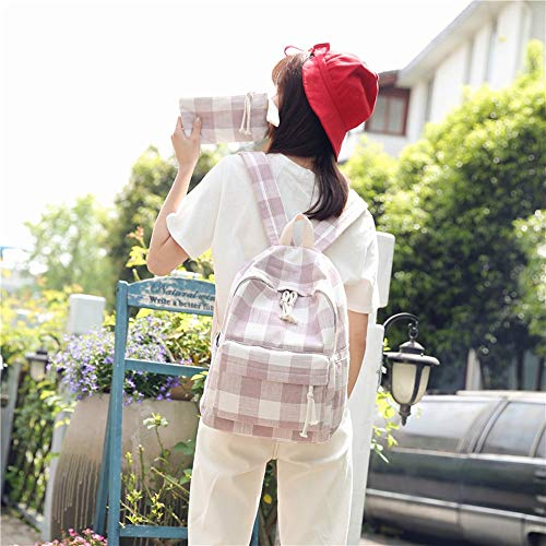 Cucsaistat Rucksack College Wind Freizeit Student Leinentasche Plaid Girl Backpack Tide Pink