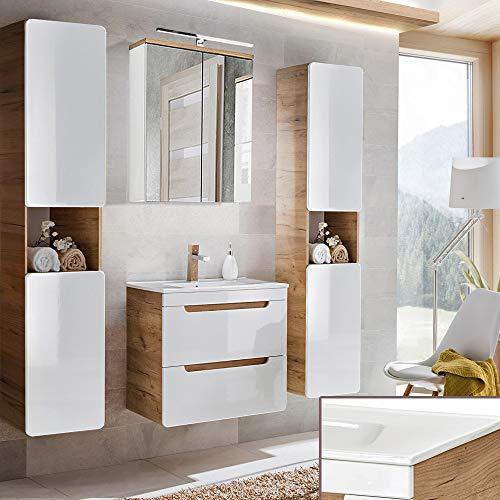 Lomadox Badmöbel KOmplett Set, Hochglanz weiß mit Wotaneiche, 60cm Keramik-Waschtisch & LED-Spiegelschrank & 2 Hochschränke