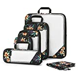 Gonex Cubi Organizzatori di Valigie Estensibili Sacchetti Organizer per Viaggi di Nylon Tessuto a rete, Borse per Bagagli Imballaggio Deposito Abbigliamento Scarpe, (Set di 6 pezzi, Blu Claro)