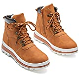 FRACORA Women's Winter Combat Boots Lace up Anti-Slip Hiking Boots Warm Fur Lined Outdoor Walking Ankle Booties(Camel.US9)