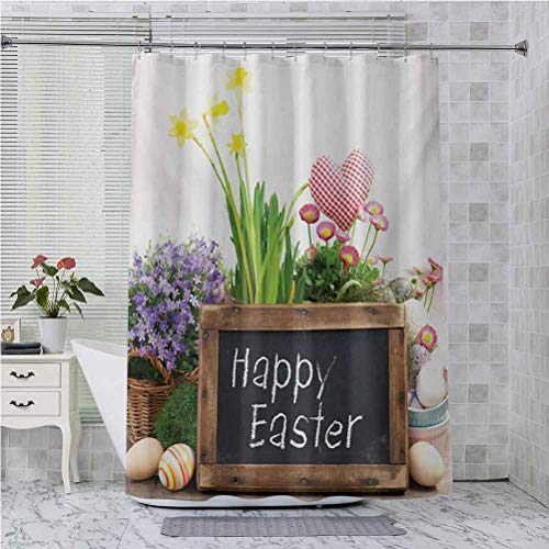 Aishare Store - Cortinas de ducha, arreglo de vacaciones con flores y huevos, pizarra sobre una mesa de madera, elementos rústicos, 182,88 x 182,88 cm, cortina de baño impermeable con 12 ganchos, multicolor