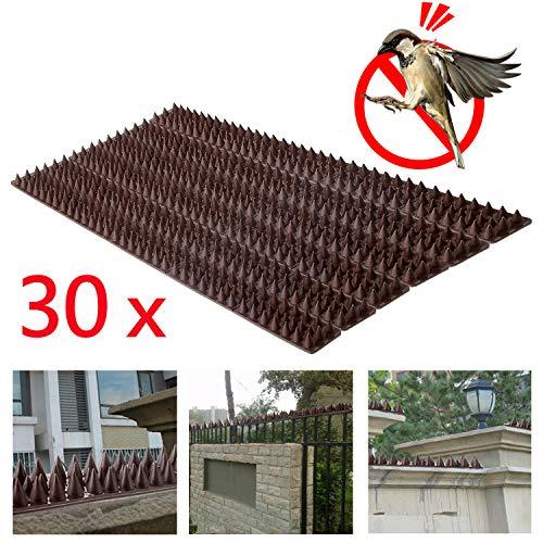 Forever Speed Pinchos para defensa de pájaros de Forever Speed contra palomas, gorriones y pichones, color marrón, 49 x 4,5 x 1,7 cm (largo x ancho x alto) (40 x 49 cm = 1960 cm de largo)