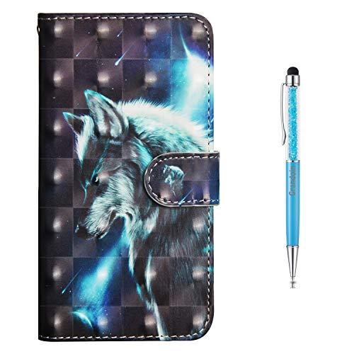 Grandoin Huawei Honor 8X Hülle, Handyhülle im Brieftasche-Stil für Huawei Honor 8X Handytasche PU Leder Flip Cover 3D Bunte Muster Hülle Schutzhülle Etui Hülle (Wolf)