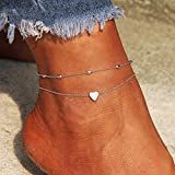 Evild Layered Boho Anklets Silver Heart Pendant Ankle Bracelet Beaded Summer Foot Jewelry Beach Accessories for Women and Girls