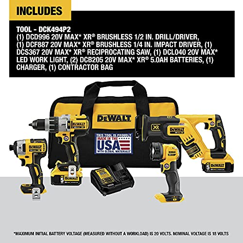 DEWALT 20V MAX XR Cordless Drill Combo Kit, 4-Tool (DCK494P2)