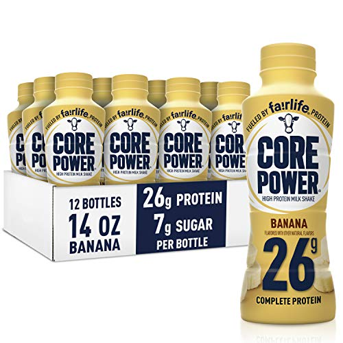 Core Power Protein Shakes 26g Banana Ready to Drink for Workout Recovery 14 Fl Oz Bottles 12 Pack