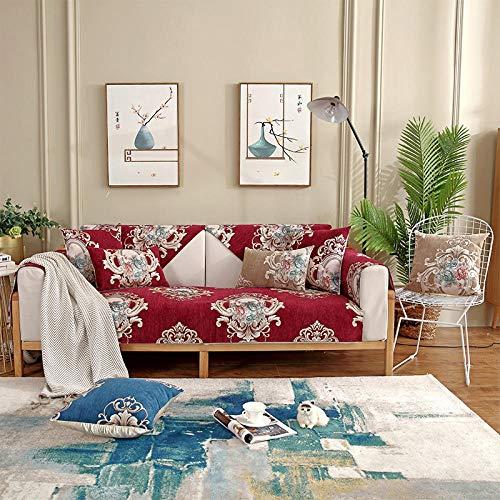 Hybad Funda para Sofas 3 plazas,Protector de sofá de Primavera y Verano,Toalla de cojín de sofá Leater,Cubierta de sofá de Tela de Sala de Estar Moderna,sofá de Chenilla Saver-Wine_Red_110 * 210cm
