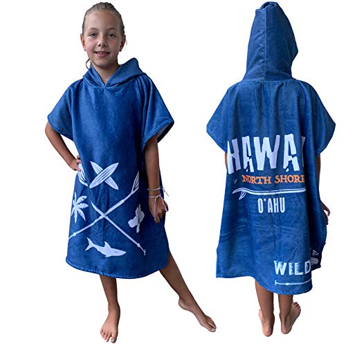 HOMELEVEL Kinder Baby Poncho Badeponcho Handtuch Cape Baumwollmischung Velours Frottee Badetuch mit Kapuze (1-3 Jahre, Blau Hawaii)