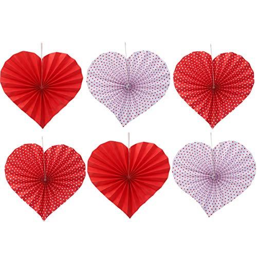 BESTOYARD Fleurs en Papier en Forme de Coeur Creative Artisanat Romantique Romantique Party Decor pour la Collecte de Mariage 6pcs