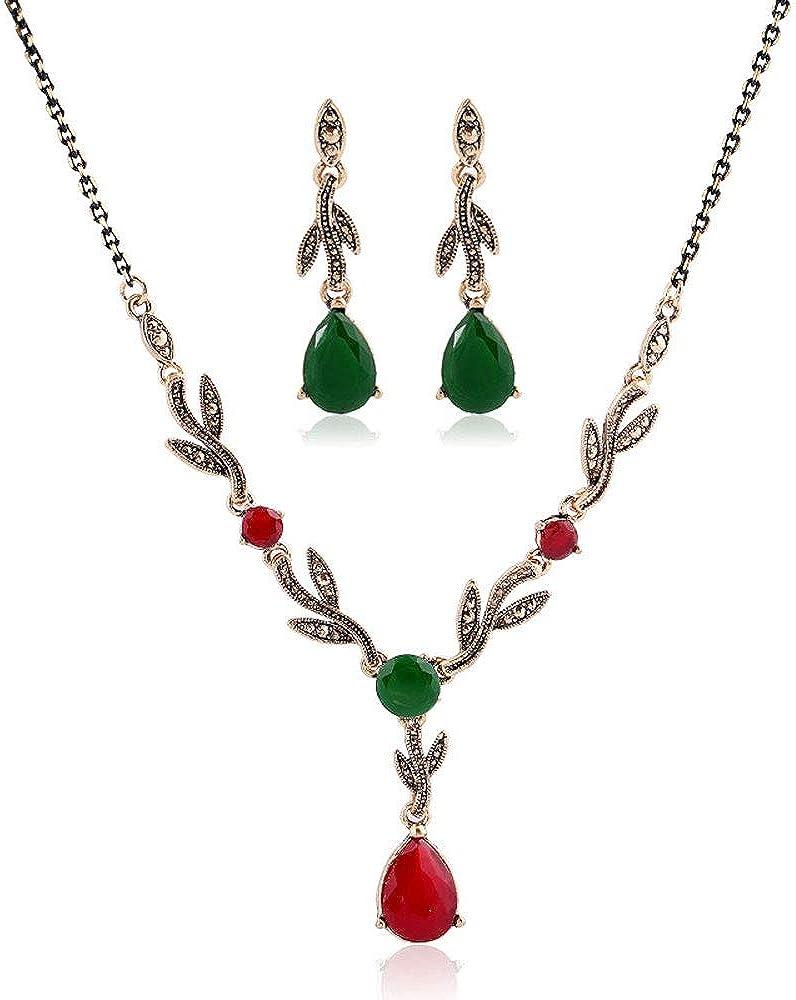 online shop JDXN Christmas Vintage Elk Leaf Necklace Stu Pendant Japan's largest assortment Drops Resin