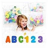 Original Tub Cubby Bath Toy Storage 2-Pack & Bath Toys - Hanging Bath Toy Holder, Mesh Net Shower Caddy with Suction & Adhesive Hooks - 36 ABC Soft Foam Letters and Numbers - Bonus Rubber Duck & Hooks