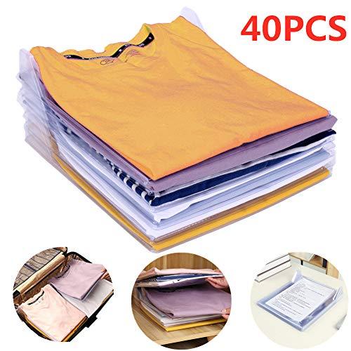 Nifogo Organizador de Armario,Camiseta Carpeta Sistema Antiarruga,tamaño Normal(40 Pack)