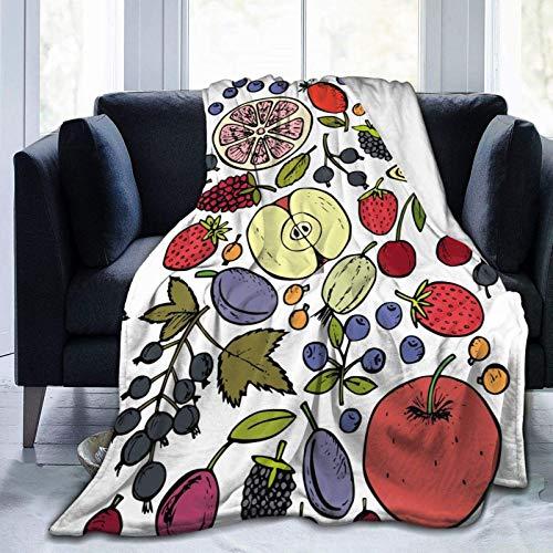 """Couvertures Throw Plaid Dessus de lit Berry Apple Tangerine Blueberry Couverture de salon confortable Jeté de Canapé 60""""x50"""""""