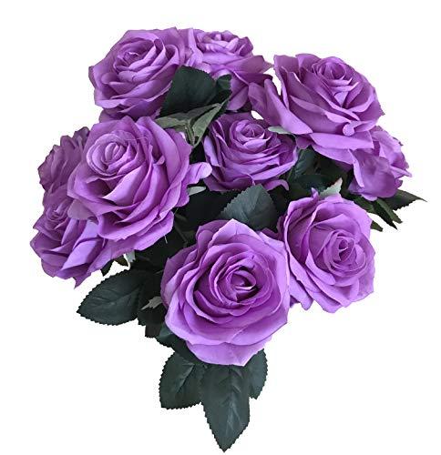 DALAMODA 2 Bundles 20 Heads Artificial Silk Flower Rose Bush,for DIY Any Wedding Rose Bouquet Home decator (Lavender)