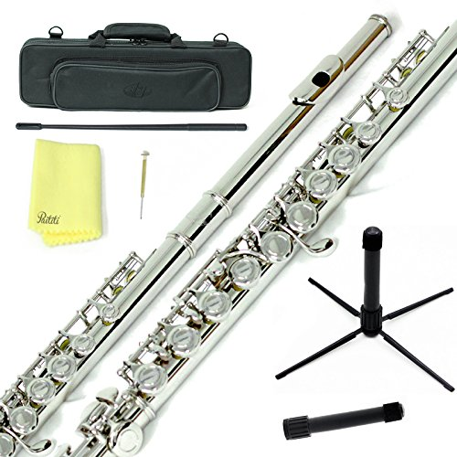 Sky C Flute with Lightweight Case, Cleaning Rod, Cloth, Joint Grease and Screw Driver -  Nickel