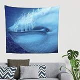 Hippie Fantasie - Decoración de pared con diseño de ballenas azules 150 x 130 cm blanco