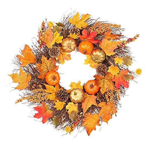 LIJUMN 45cm Landa Artificiale per Halloween, Autunnale, Festa del Ringraziamento, Ghirlanda Decorativa in Rattan con Bacche, Zucca, Pigne E Foglie d'Acero