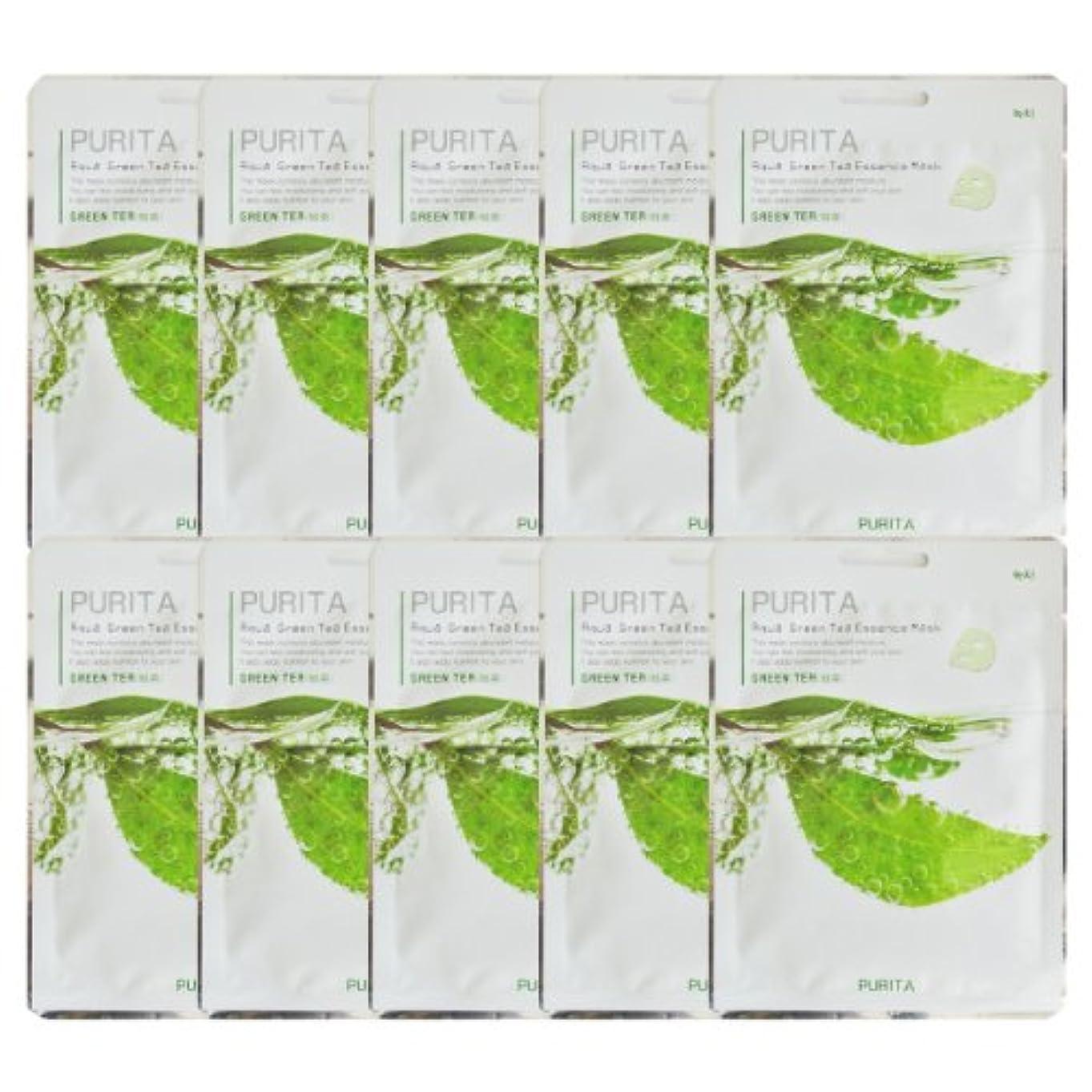 より平らな橋脚責PURITA ピュリタ エッセンスマスク 緑茶 10枚セット