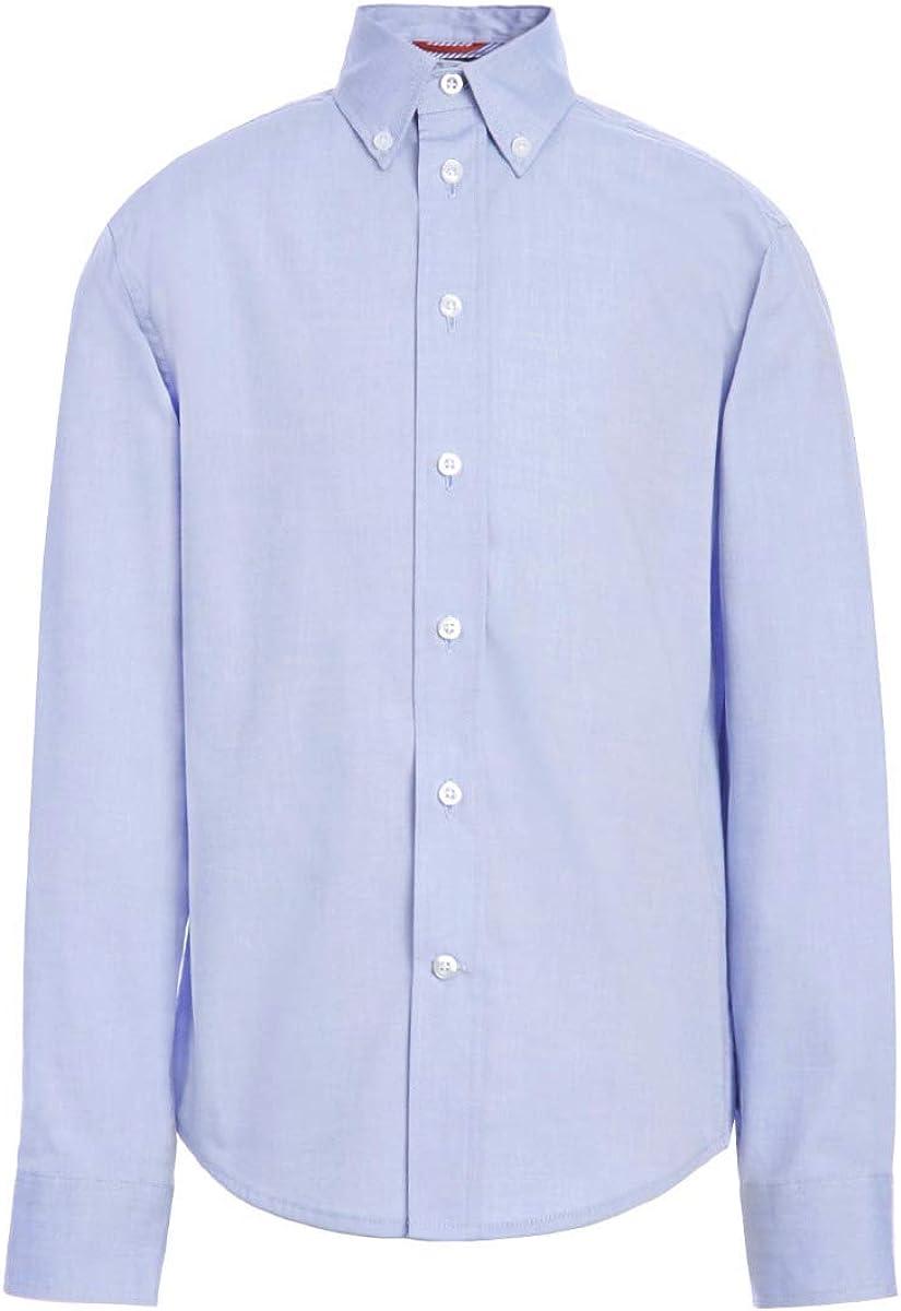 Tommy Hilfiger Long Sleeve Pinpoint Boys Oxford Collar Shirt, Kids School Uniform Clothes