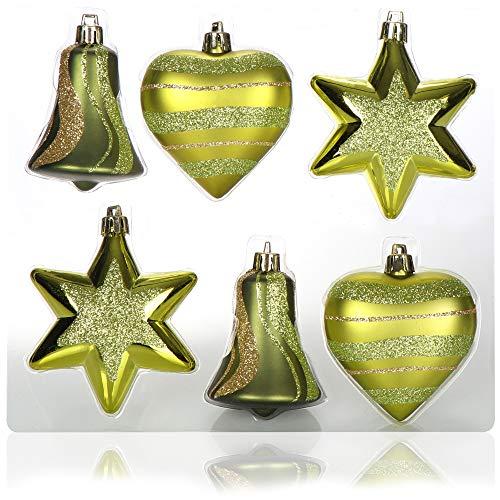 com-four® Set de 6 Piezas Adornos para árboles de Navidad - Bolas de árbol de Navidad de Diferentes Formas - Campana, corazón y Estrella para Colgar en el árbol de Navidad (Verde)