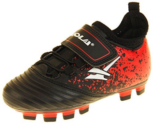 """Gola """"Activo5"""" - Turnschuhe für Jungen und Mädchen für Einsatz bei Fußball auf Kunstrasen , Mehrfarbig - Schwarz, Rot, Weiß - Größe: 26 EU"""