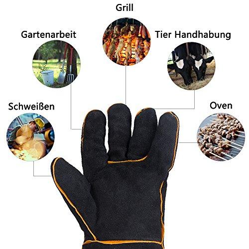 HUAFA Guantes de Horno, Cuero Resistente al Calor Guantes para Hornear,Guantes de Barbacoa, Guantes para Hornear para cocinar,Adecuado para Cocina, microondas, Parrilla-1 Par (Piel de Vaca, Negro)