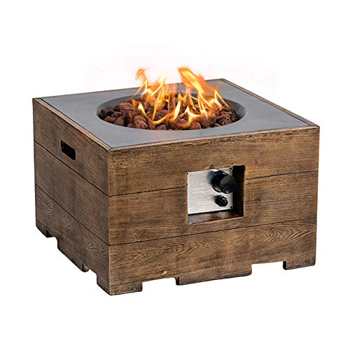 SIUSUMFO Propane Fire Pit Gas Table Outdoor, 24-inch 50,000 BTU Square Durable Fireplace, Gray Concrete Type Firepit with Free Lava Rocks for Patio Backyard Lawn Barbecue 20 Gal/LB