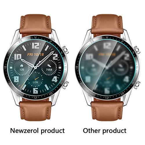 Huawei Watch GT 2 46mm Panzerglas Schutzfolie, 4 stück 2.5D Arc Edges 9H Glas Displayschutz Anti-Kratzer blasenfrei Schutzfolie mit CLAR Lebenslange Ersatzgarantie - 5