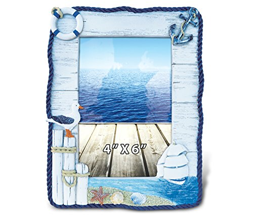 Puzzled Resin Coastal Maritime Picture Frame, 4 X 6 Inch Sculptural Photo Holder Intricate & Meticulous Detailing Art Handcrafted Decoration Tabletop Accent Accessory Nautical Beach Themed Home Décor