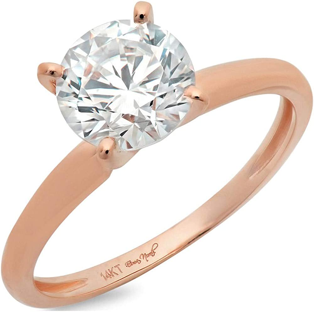 2.45 ct Round Cut Solitaire Clear Simulated Diamond Ideal VVS1 D 4-Prong Classic Designer Statement Ring In Solid 14k Pink Rose Gold for Women
