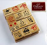 CHENGYIDA Juego de sellos de madera para maestros y padres, 1 almohadilla de tinta roja