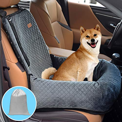 BOCHAO Dog Car Seat Pet Booster Seat Pet Travel Safety Car Seat,The Dog seat Made of Materials is Safe and Comfortable, and can be Disassembled for Easy Cleaning (Gray)