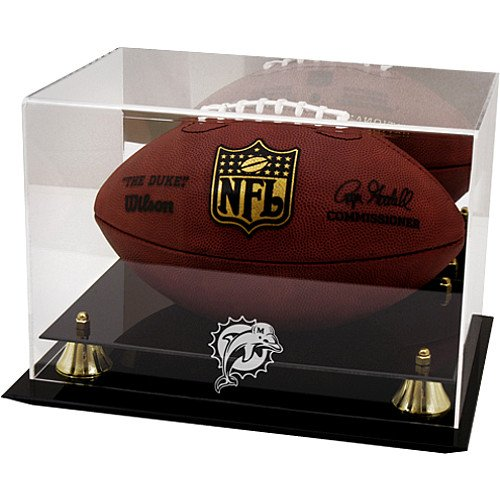 Mounted Memories Miami Dolphins Team Logo Football Display Case