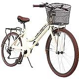 CENTURFIT Bicicleta Estilo Vintage Retro Clasica Urbana 6 Velocidades Rodada 26 con Canastilla Salpicaderas Frenos V.Break Asiento Ajustable Diseño Original Excelente Calidad Color Amarillo