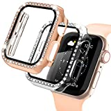 Recoppa Apple Watch Case with Screen Protector for Apple Watch 44mm Series 6/5/4/SE, 2 Pack Bling Crystal Diamond Ultra-Thin Bumper Full Cover Protective Case for Women Girls iWatch Clear/Rosegold