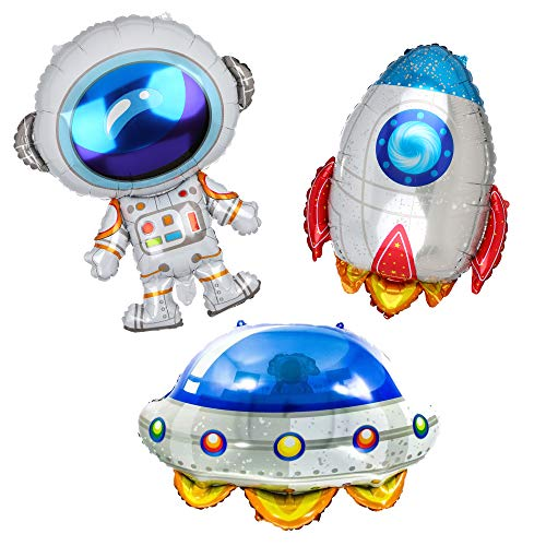 Outer Space UFO Theme Rocket Astronauts Flying Saucer Big Mylar Foil Balloon Birthday Party Decorations Kit