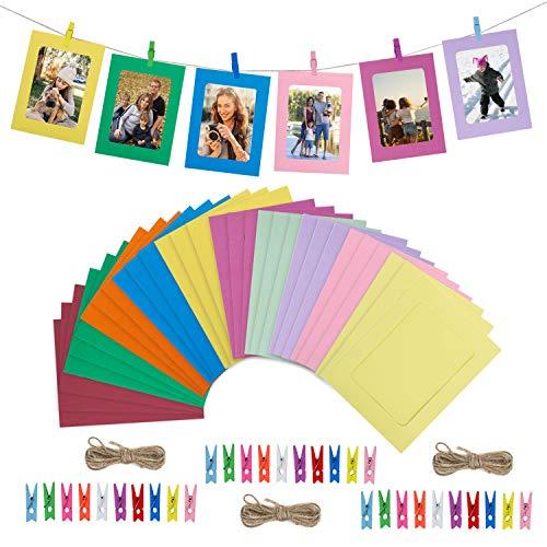 HONGXIN-SHOP Fotorahmen aus Papier Wanddeko DIY Kreative Bilderrahmen Foto hängende Anzeige Foto mit Mini Holzklammern und Hanfseil 30 Stück 10 Farben