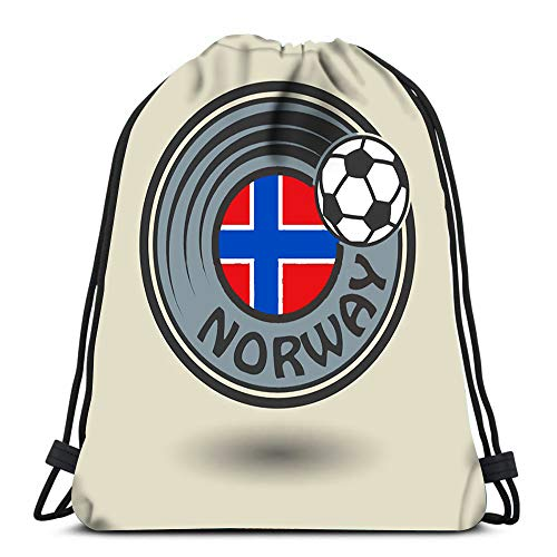 Gym Drawstring Bags Stamp Or Label with Word Norway Football Theme Sport Storage Polyester Bag for Gym